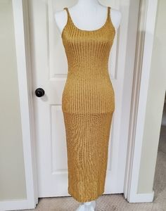 Metallic Gold Shimmering Slip Dress